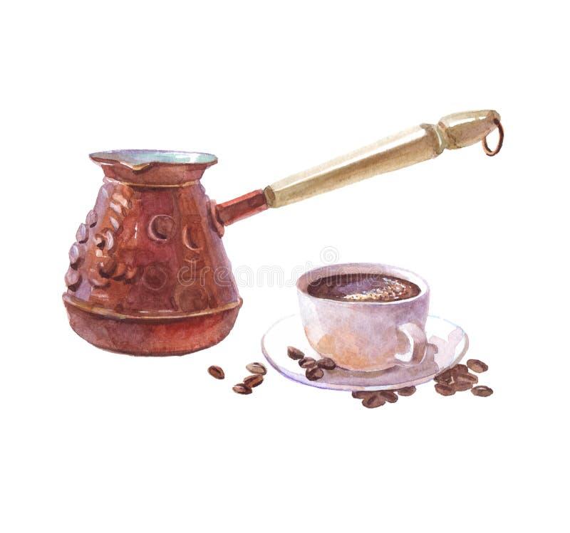 Akwareli realistyczny kawowy ibrik z filiżanką odizolowywającą royalty ilustracja