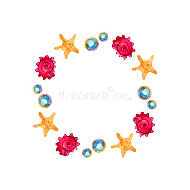 Akwareli round denny wianek, skorupa, rozgwiazda i perła, zaproszenie karciany szablon ilustracja wektor