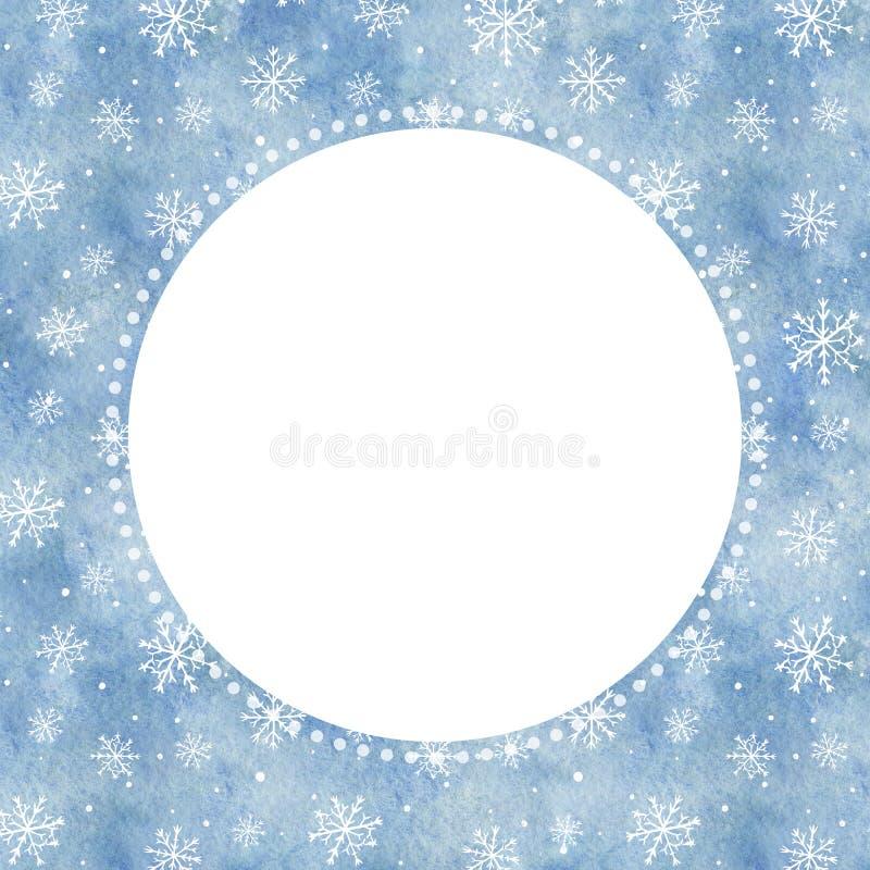 Akwareli round rama z błękitnym gradientowym tłem, snowfal i ilustracja wektor