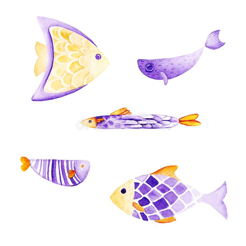 Akwareli ryba set Ultrafioletowi i złoto kolory dla ilustracji