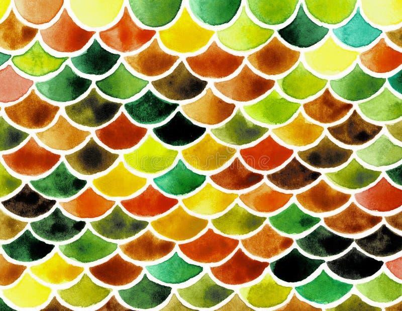 Akwareli rybie skale Jaskrawy lato wzór z gadzimi skalami ilustracja wektor