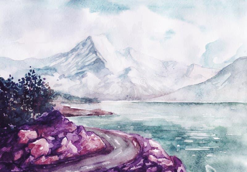 Akwareli rzeka i góry natura kształtujemy teren wektorową ilustrację royalty ilustracja