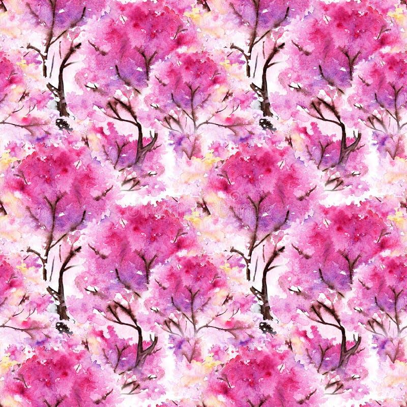 Akwareli Sakura tekstury różowy czereśniowy bezszwowy deseniowy tło royalty ilustracja