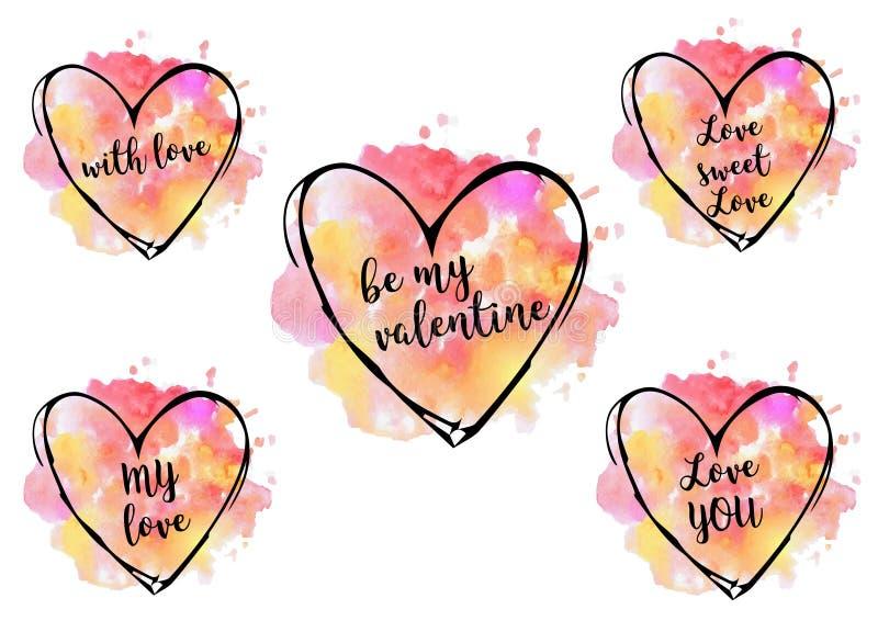 akwareli serca świątobliwy valentine ` s dzień zdjęcia stock