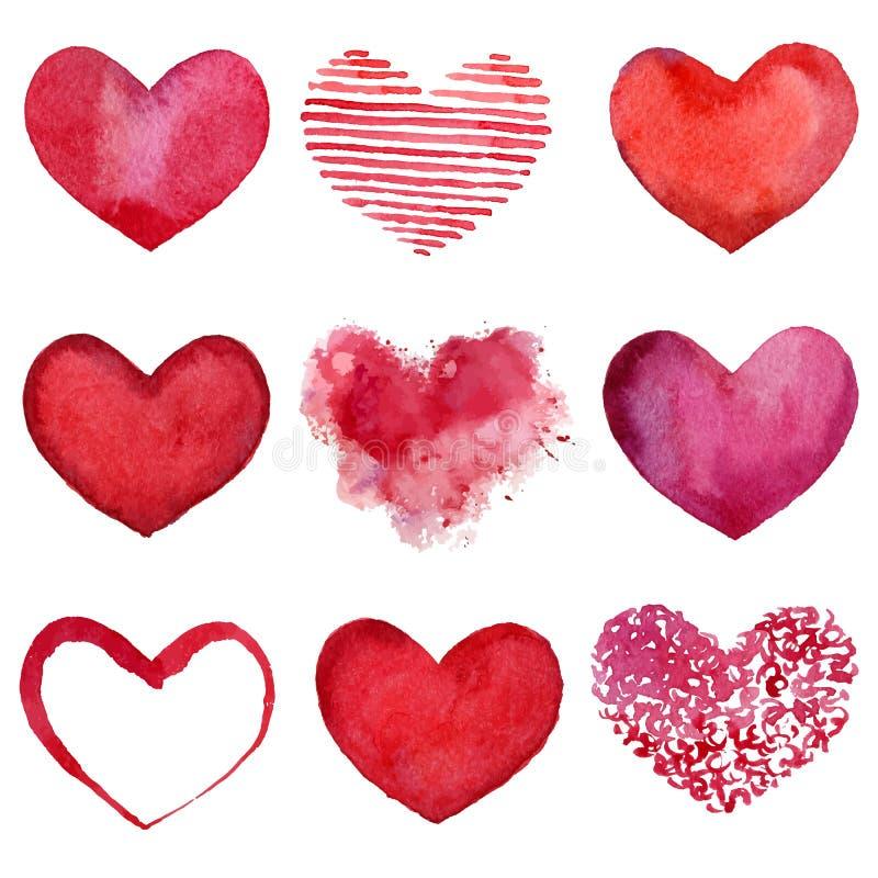 Akwareli serca ilustracji