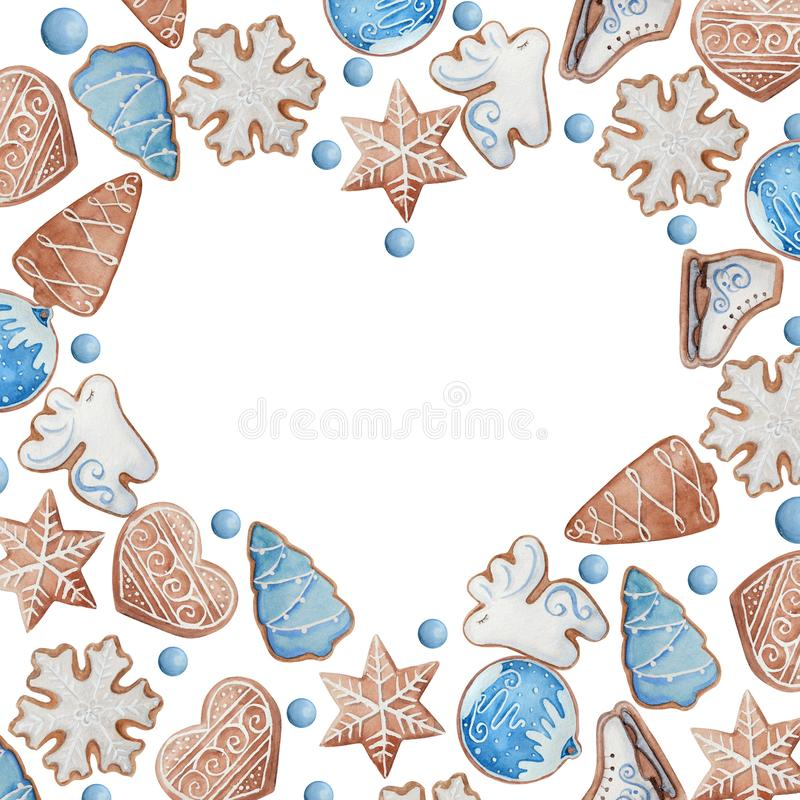 Akwareli serca rama bożych narodzeń lub nowego roku ciastka ilustracji