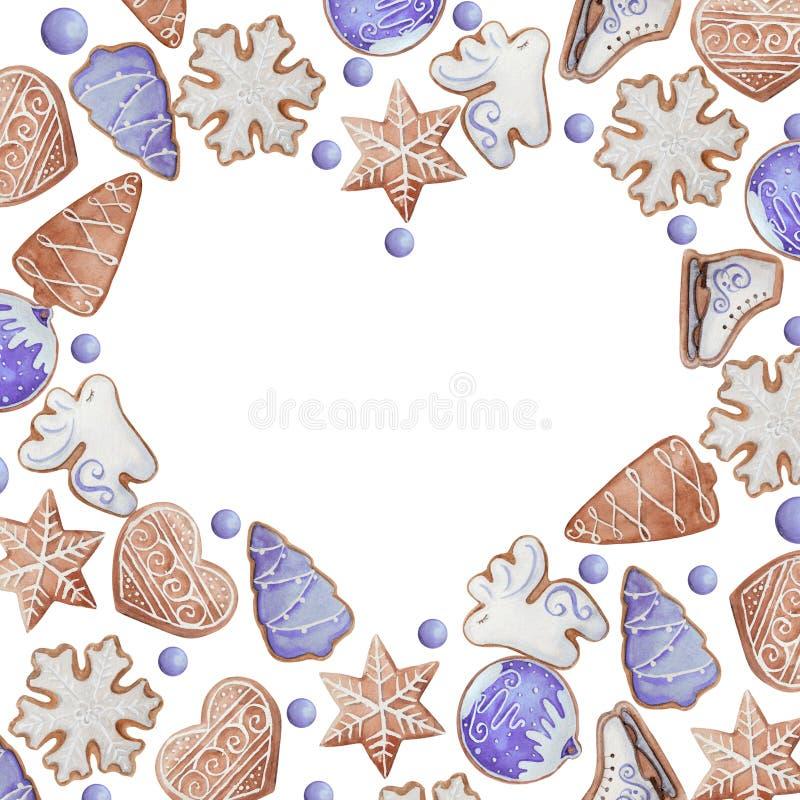 Akwareli serca rama bożych narodzeń lub nowego roku ciastka royalty ilustracja