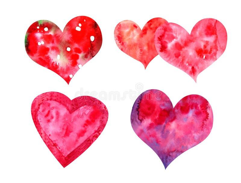Akwareli serca ustawiający ilustracja wektor