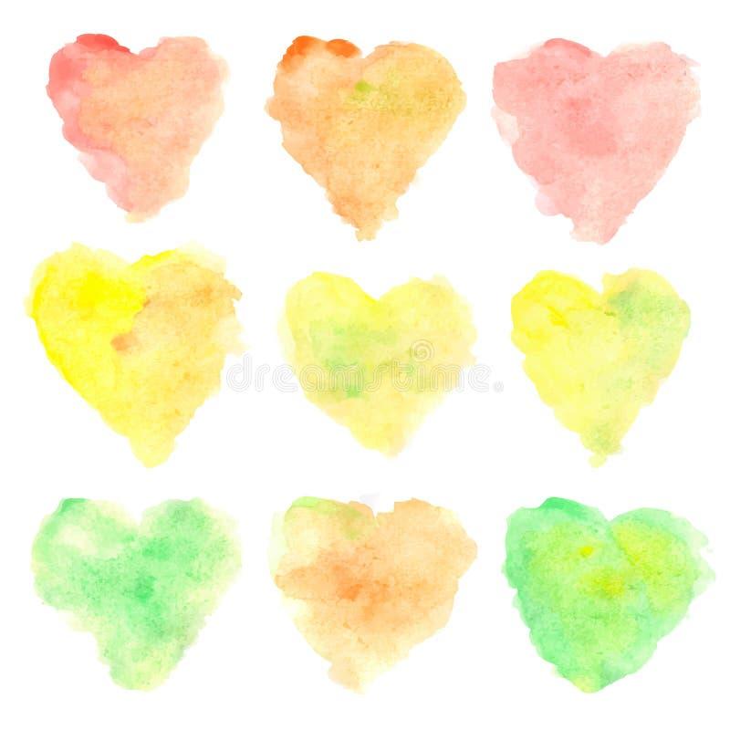 Akwareli serce kształtować plamy odizolowywać na białym tle Set kolorowa ręka malujący punkty bystre odcienie kolorów jesieni wek ilustracji