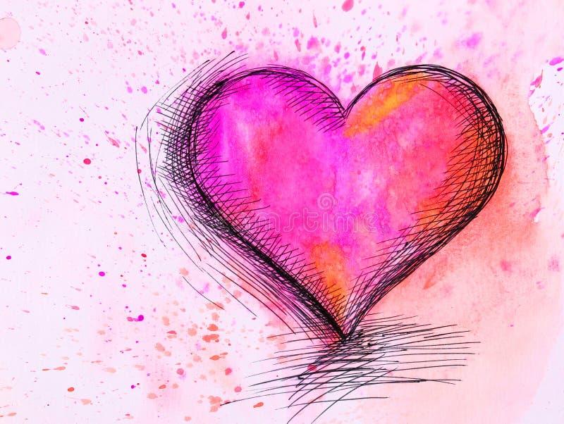 Akwareli serce. Walentynka dzień zdjęcia royalty free