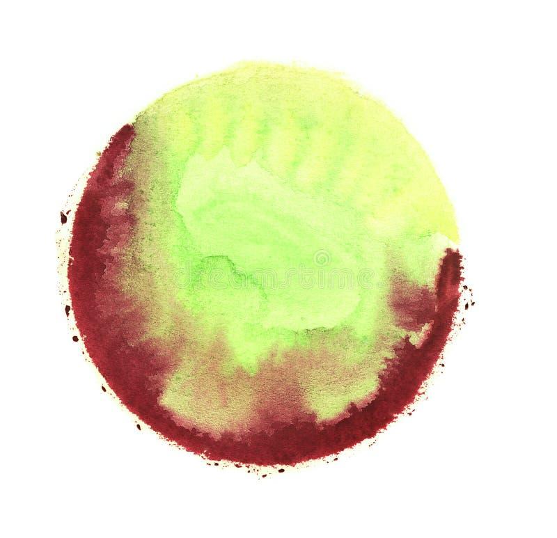 Akwareli sfera obraz abstrakcyjne Mlecznozielona i czerwona farba Pusty abstrakt Smudged tekstury tło Freehand okręgu rysunek ilustracja wektor