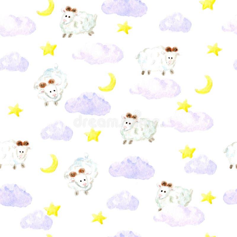 Akwareli sheeps, gwiazd i chmur bezszwowy tło, ilustracji