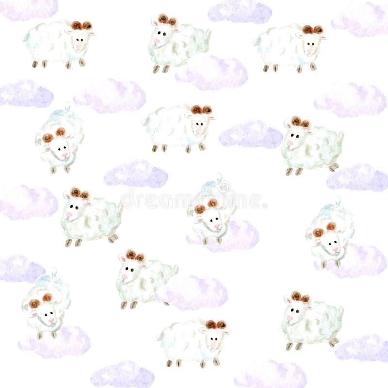 Akwareli sheepsand chmurnieje tło ilustracji