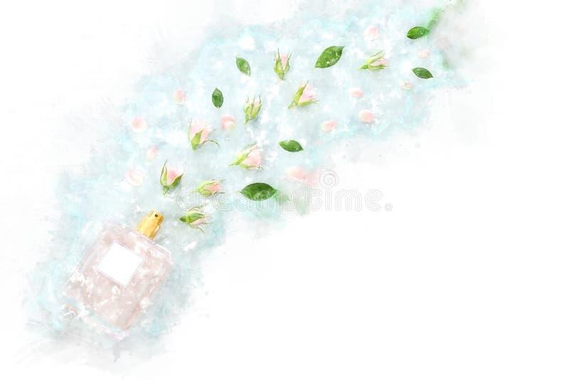 akwareli stylowa i abstrakcjonistyczna ilustracja rocznika pachnidła butelka ilustracja wektor