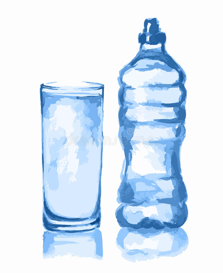Akwareli szkło i butelka royalty ilustracja