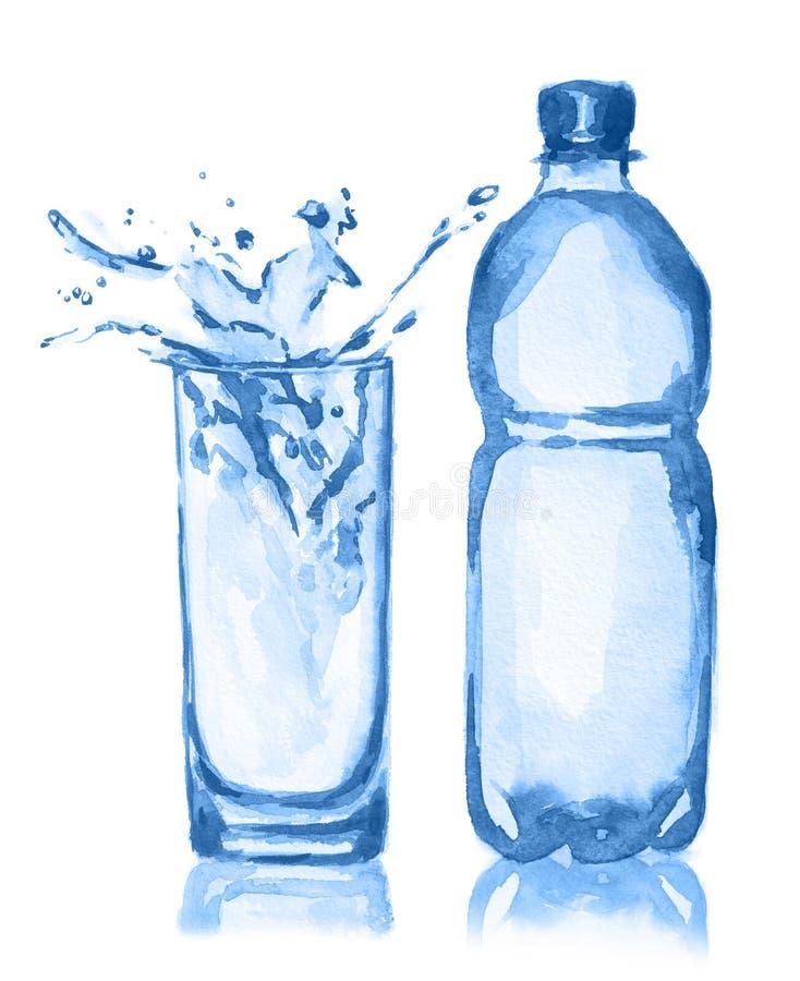 Akwareli szkło i butelka ilustracji