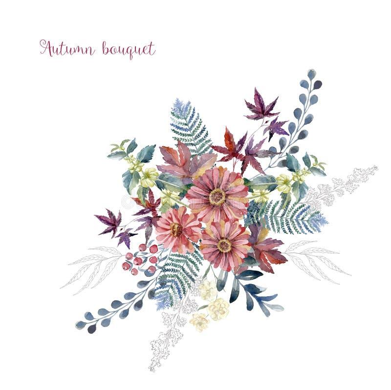 Akwareli sztuka z świeżego kwiatu bukietem dla poślubiać royalty ilustracja