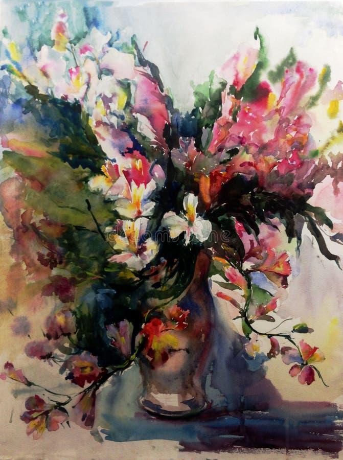 Akwareli sztuki abstrakcjonistycznego tła piękny kwiecisty egzot kwitnie w wazowej nowożytnej textured mokrego obmycia zamazujące ilustracji