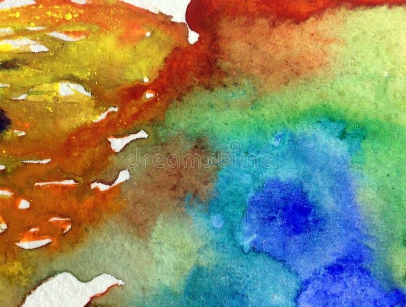 Akwareli sztuki tła abstrakcjonistycznego pluśnięcia denny podwodny światowy kolorowy textured mokry obmycie zamazujący ilustracji