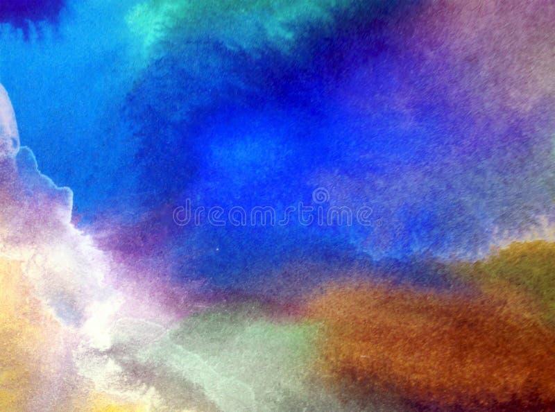 Akwareli sztuki tła abstrakt zamazywał wzgórze wieczór niebo ilustracji