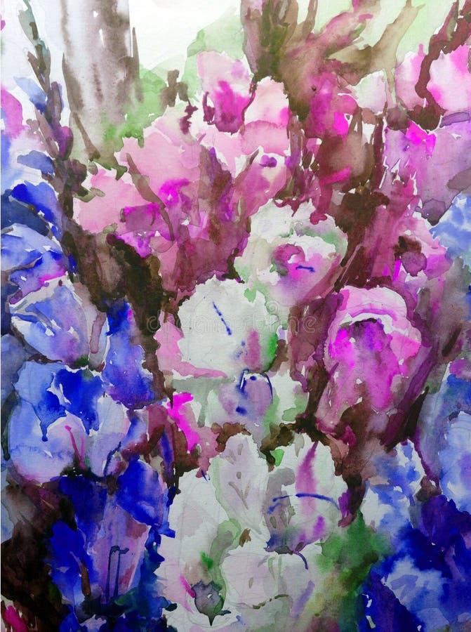 Akwareli sztuki tła abstrakta wzoru kwiecistego bukieta kwiatów gladiolusa ogród textured mokrego obmycia zamazującą fantazję ilustracja wektor
