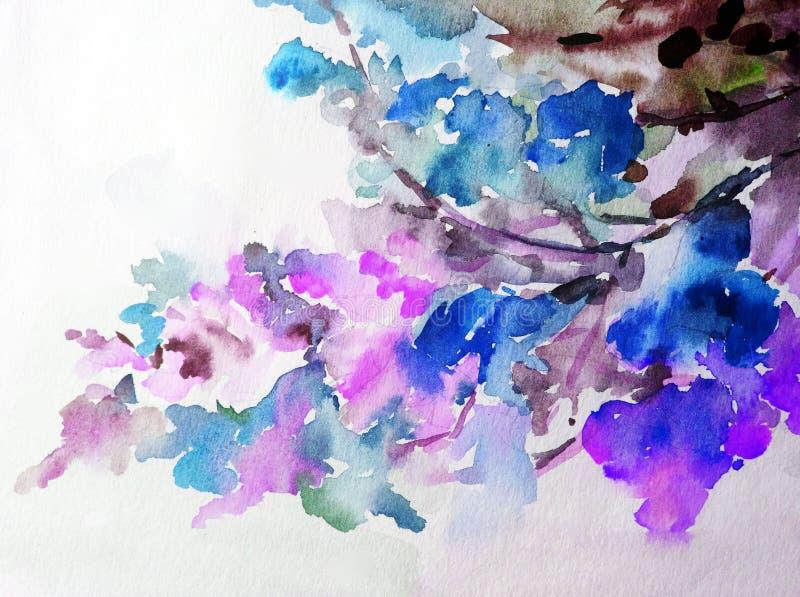 Akwareli sztuki tła błękita kolorowe menchie kwitną okwitnięcie wiosny gałęziastego ogród ilustracji
