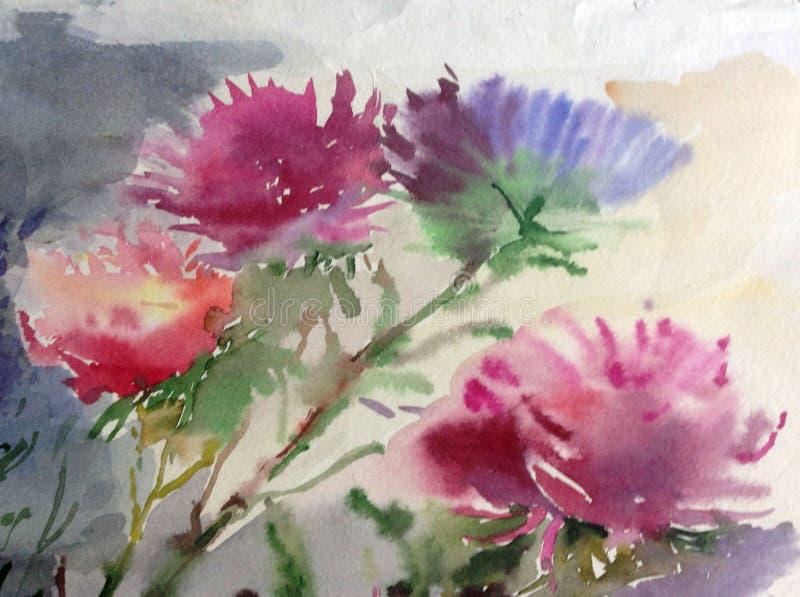 Akwareli sztuki tła błękita menchii asteru kwiatu bukieta wciąż życia kolorowy obraz royalty ilustracja