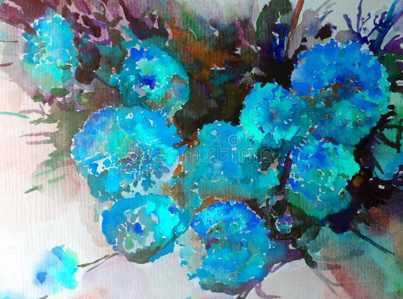 Akwareli sztuki tła kwiatu błękitny magenta bukiet kreatywnie ilustracji