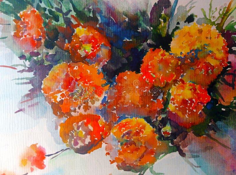 Akwareli sztuki tła pomarańczowej czerwieni kwiatu żółty bukiet ilustracja wektor