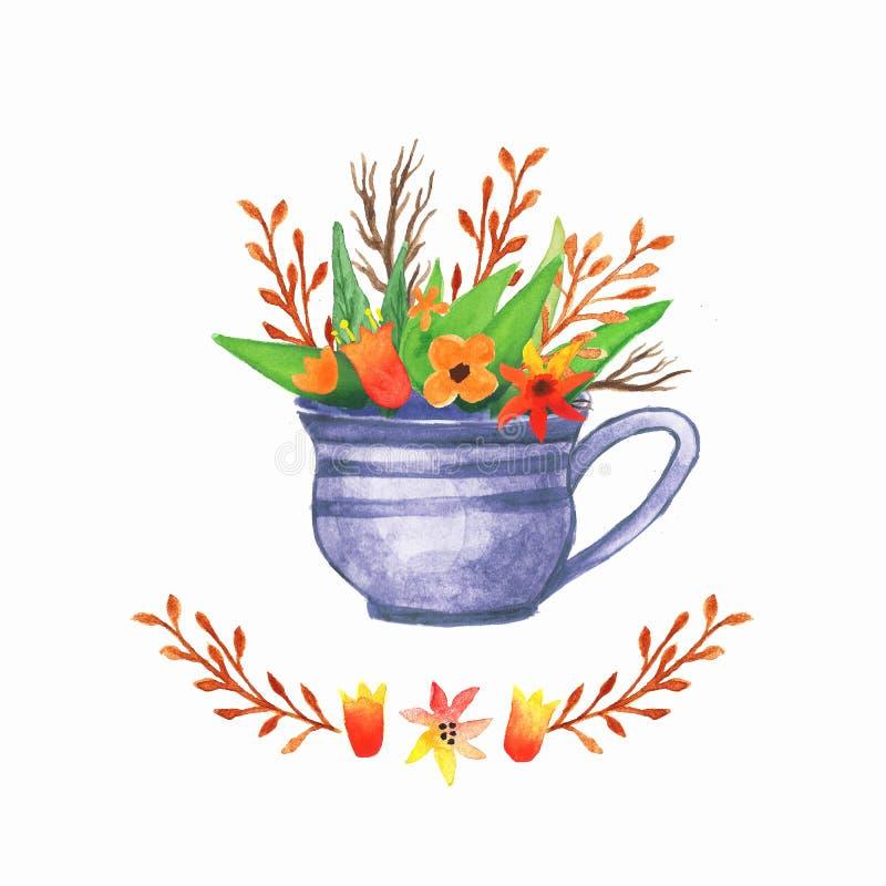 Akwareli tła Kwiecista waza Ręka rysująca akwarela ilustracja wektor