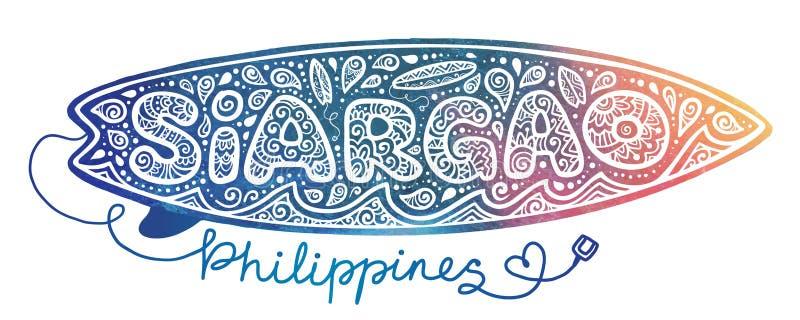 Akwareli tła stylowy surfboard z białą doodle ręką rysującą surfujący element przy szyldową Siargao wyspą, Filipiny ilustracja wektor
