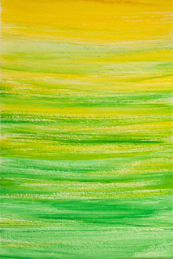 Akwareli tło, farby tekstury zieleń z kolorem żółtym obraz royalty free