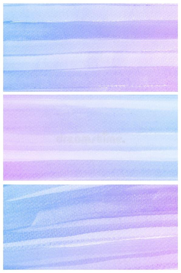 Akwareli tło. Set kolorowy błękitny purpurowy Abstrakcjonistyczny wodny kolor obraz stock