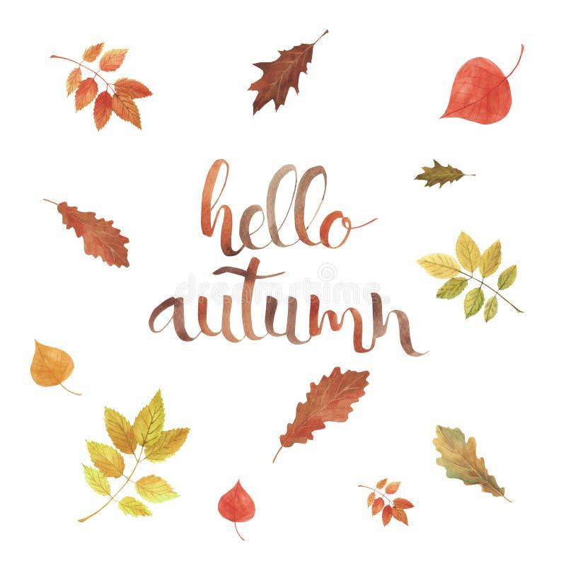 Akwareli tło z jagody i liście czerwieni, pomarańcze i koloru żółtego, Ręka pisać literowanie jesień Cześć royalty ilustracja