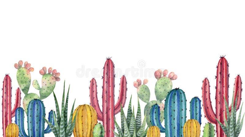 Akwareli tło z pustynią i kaktusami ilustracja wektor