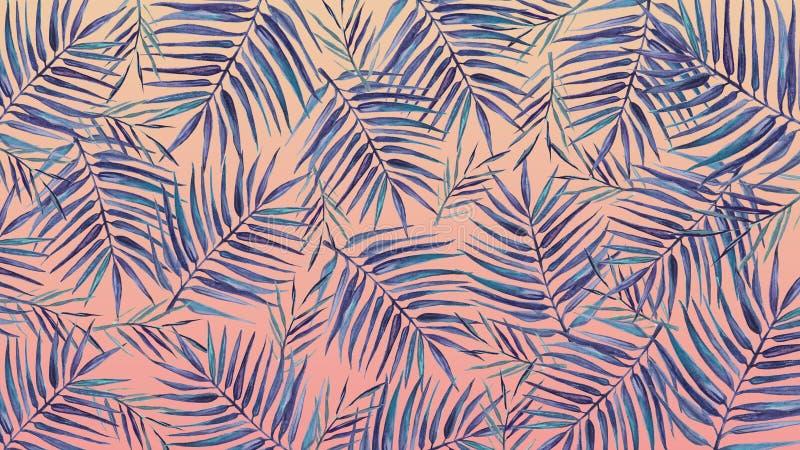 Akwareli tło z tropikalnymi liśćmi na różowym tle royalty ilustracja