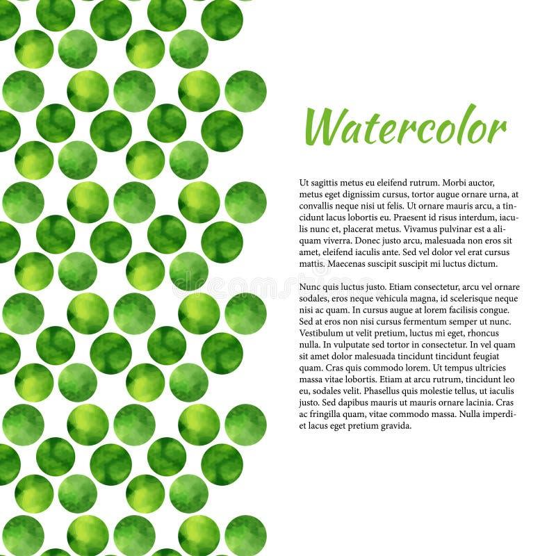 Akwareli tło z zielonymi okręgami tło abstrakcyjne światła Wektorowa akwarela dla broszurki, sztandar royalty ilustracja