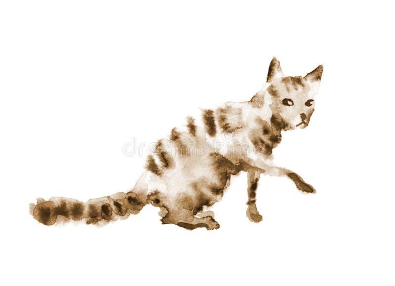 Akwareli tabby sepiowy śliczny brown kot na bielu obraz stock