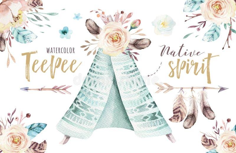 Akwareli teepee ilustracja Watercolour projekta trójnika siuśki artystyczny organicznie druk colour boho rodzima sztuka z ręką ilustracja wektor