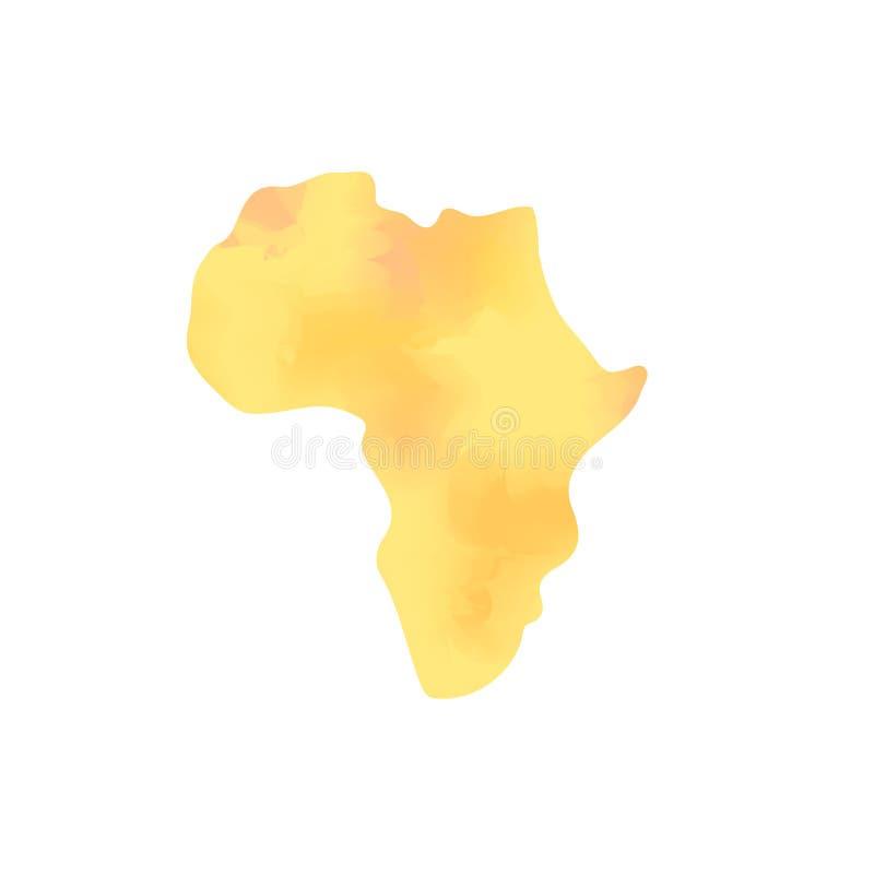 Akwareli tekstury Afryka kontynentu pomarańczowa mapa, wektorowa ilustracja ilustracja wektor