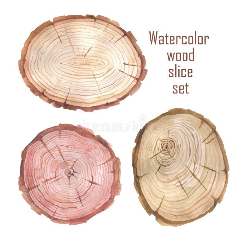 Akwareli tekstury drewniany sztandar ilustracji