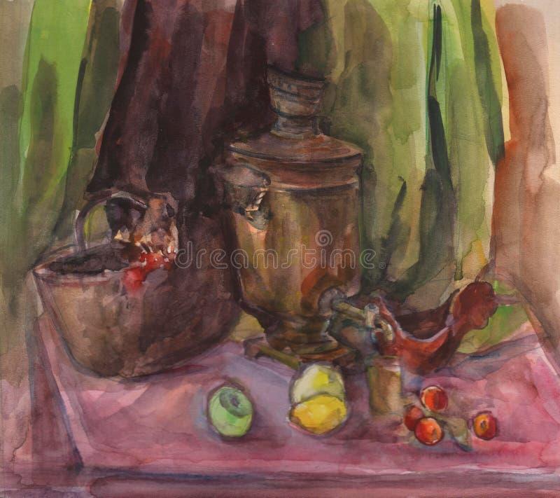 Akwareli tekstury obraz życie obrazu wielki Rosyjski herbata teapot i filiżanka, wciąż ilustracji