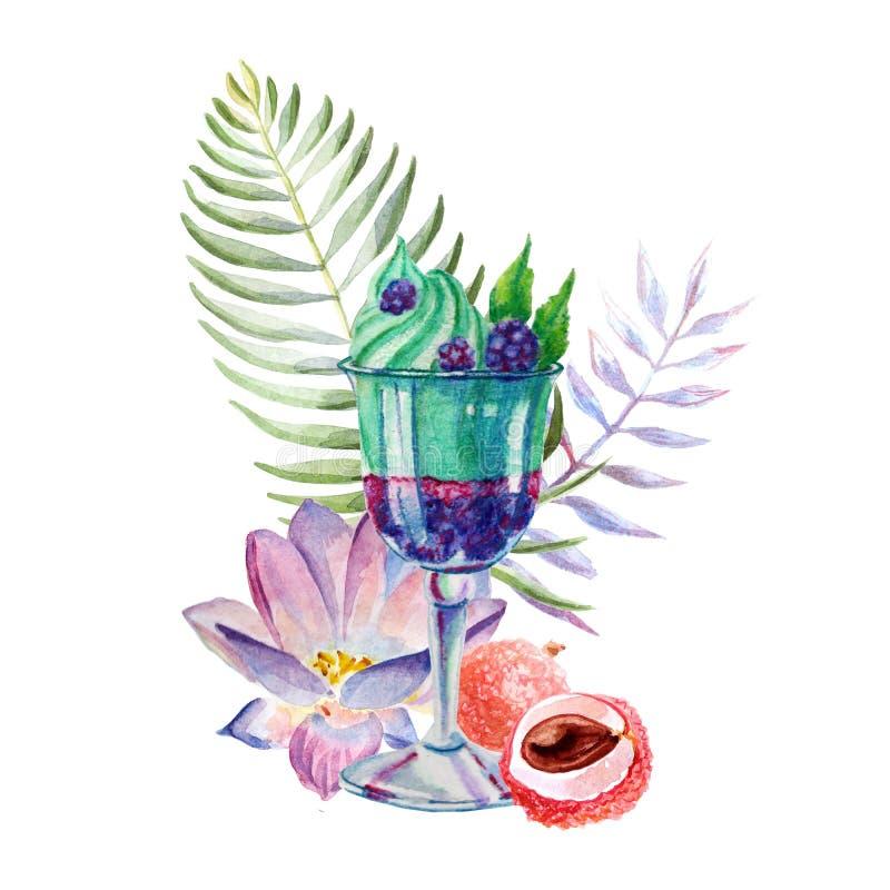 Akwareli tropikalna ilustracja z deserem, owoc i kwiatami lody, royalty ilustracja