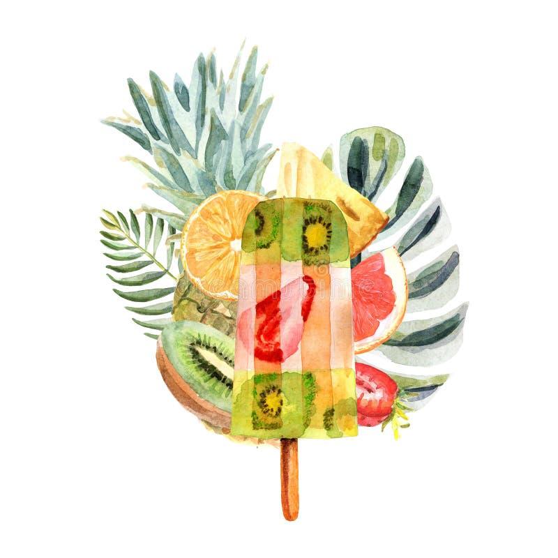 Akwareli tropikalna ilustracja z lodem, owoc i kwiatami owoc, ilustracja wektor