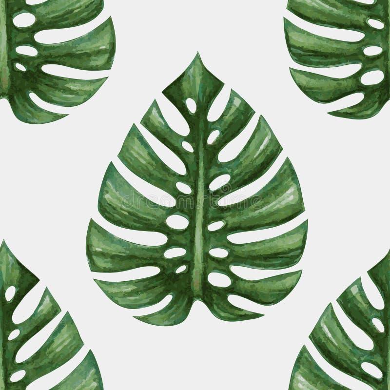 Akwareli tropikalna palma opuszcza bezszwowego wzór ilustracji