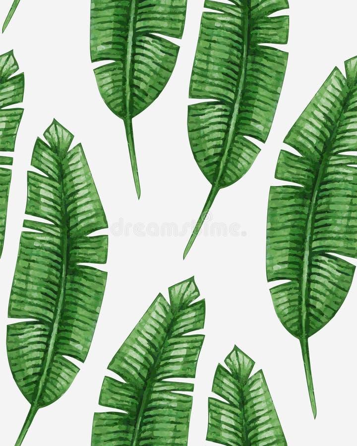 Akwareli tropikalna palma opuszcza bezszwowego wzór royalty ilustracja