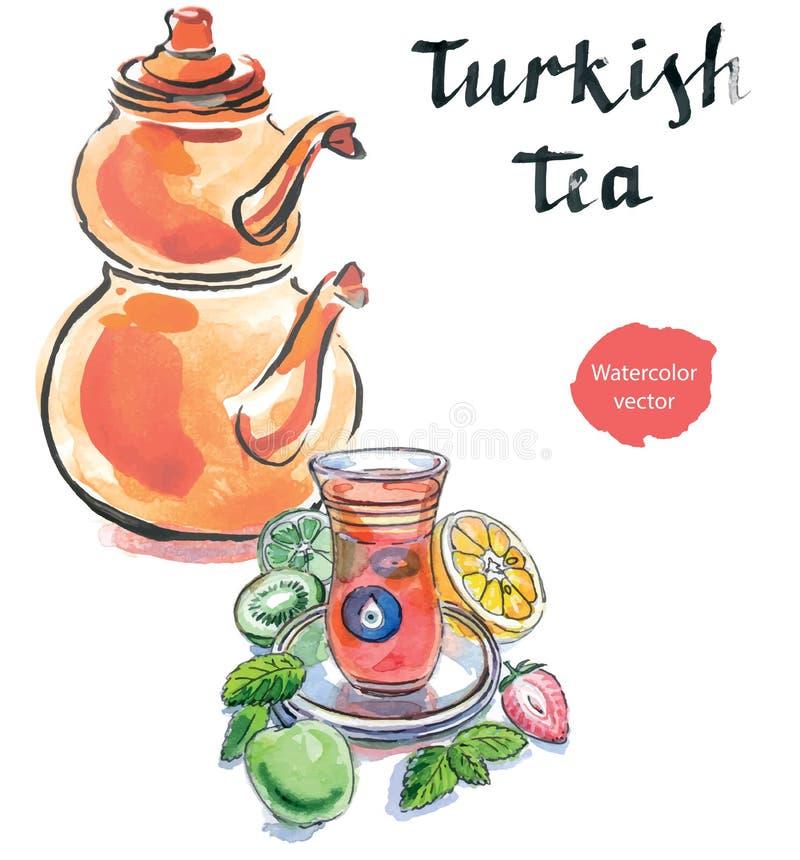 Akwareli turecka herbata z tureckim czajnikiem ilustracja wektor