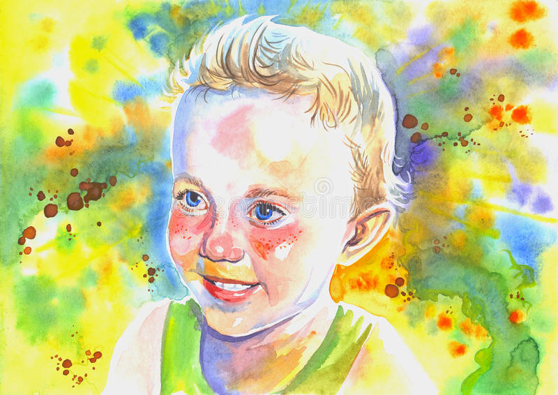 Akwareli uśmiechnięta chłopiec royalty ilustracja