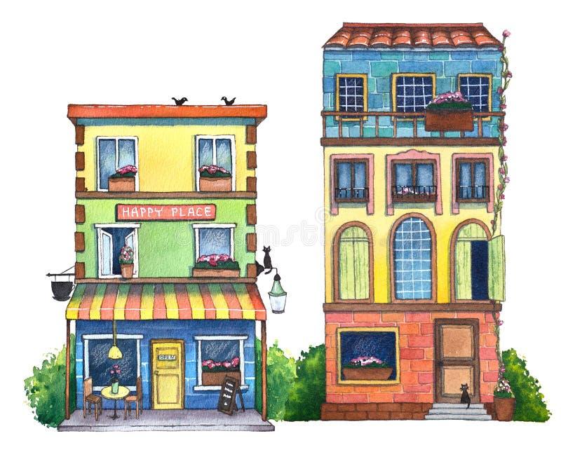 Akwareli ulica z domami, kawiarnią i kotami, ilustracja wektor