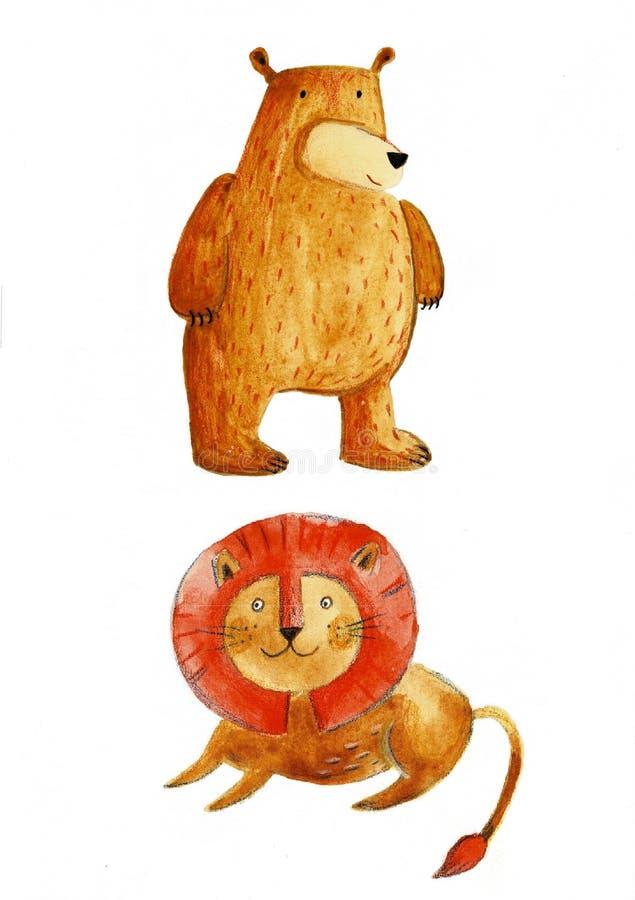 Akwareli ustalony zwierzęcy śliczny zwierzę, lew, zając, niedźwiedź na białym tle royalty ilustracja